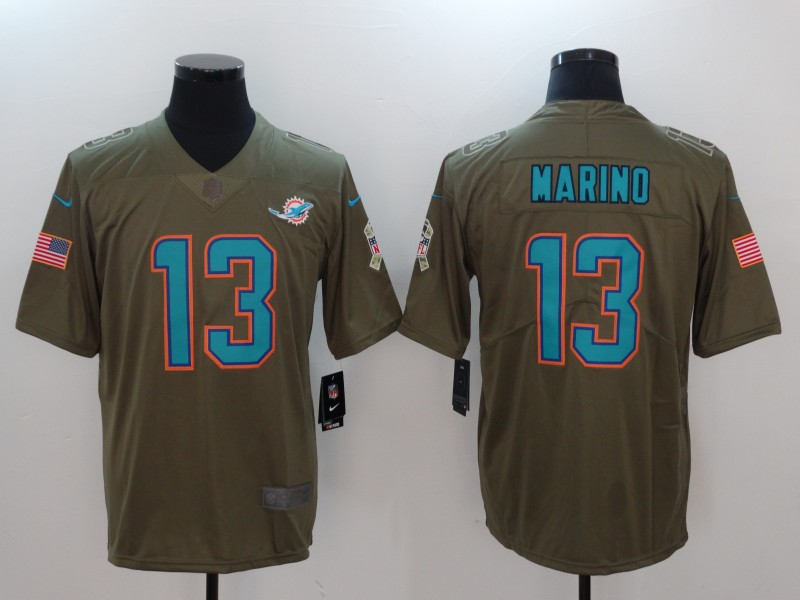 Men Miami Dolphins 13 Marino Nike Olive Salute To Service Limited NFL Jerseys