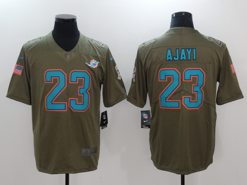 Men Miami Dolphins 23 Ajayi Nike Olive Salute To Service Limited NFL Jerseys