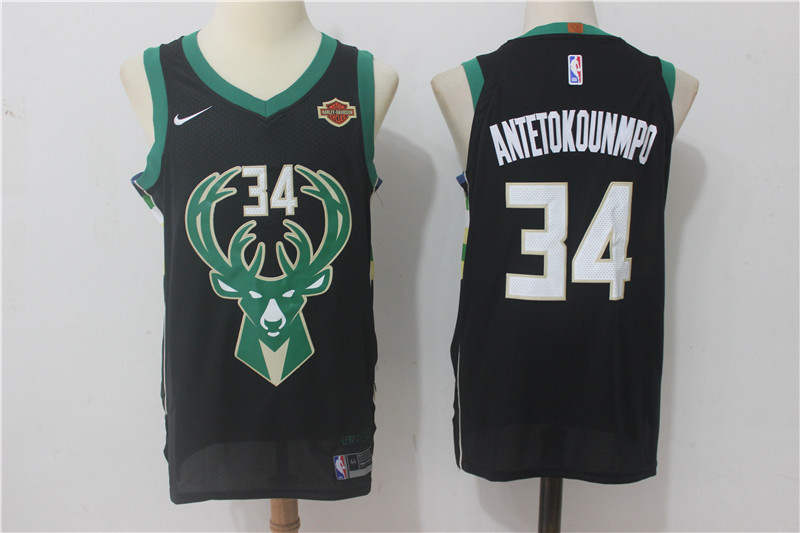 Men Milwaukee Bucks 34 Antetokounmpo Black New Nike Season NBA Jerseys