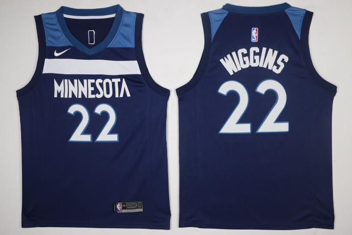 Men Minnesota Timberwolves 22 Wiggins Blue New Nike Season NBA Jerseys