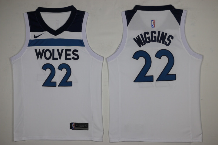 Men Minnesota Timberwolves 22 Wiggins White New Nike Season NBA Jerseys
