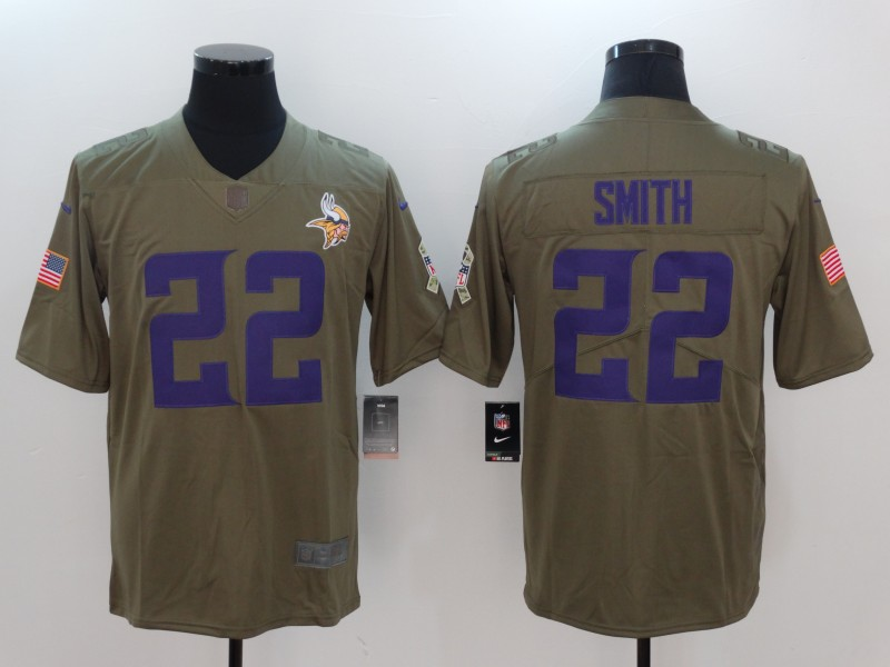 Men Minnesota Vikings 22 Smith Nike Olive Salute To Service Limited NFL Jerseys