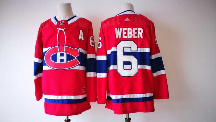 Men Montreal Canadiens 6 Weber Red Adidas Hockey Stitched NHL Jerseys