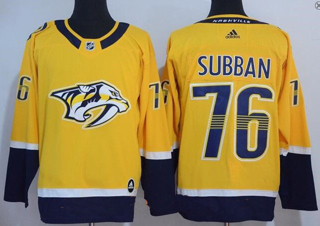 Men Nashville Predators 76 P.K. Subban Yellow 2017-2018 Adidas Hockey Stitched NHL Jerseys