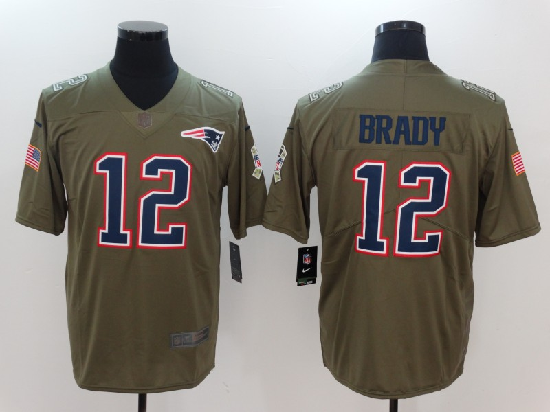 Men New England Patriots 12 Brady Nike Olive Salute To Service Limited NFL Jerseys