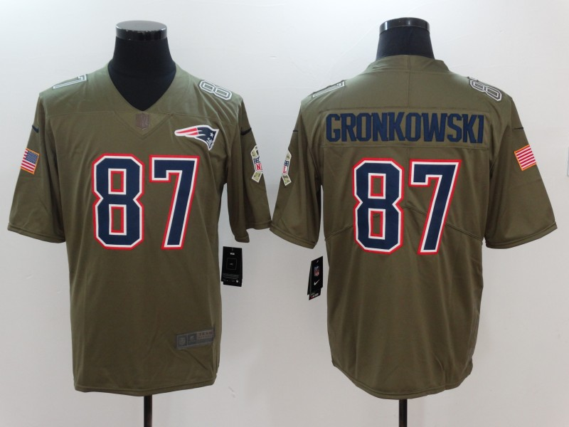 Men New England Patriots 87 Gronkowski Nike Olive Salute To Service Limited NFL Jerseys