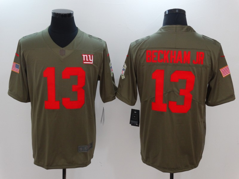 Men New York Giants 13 Beckham jr Nike Olive Salute To Service Limited NFL Jerseys