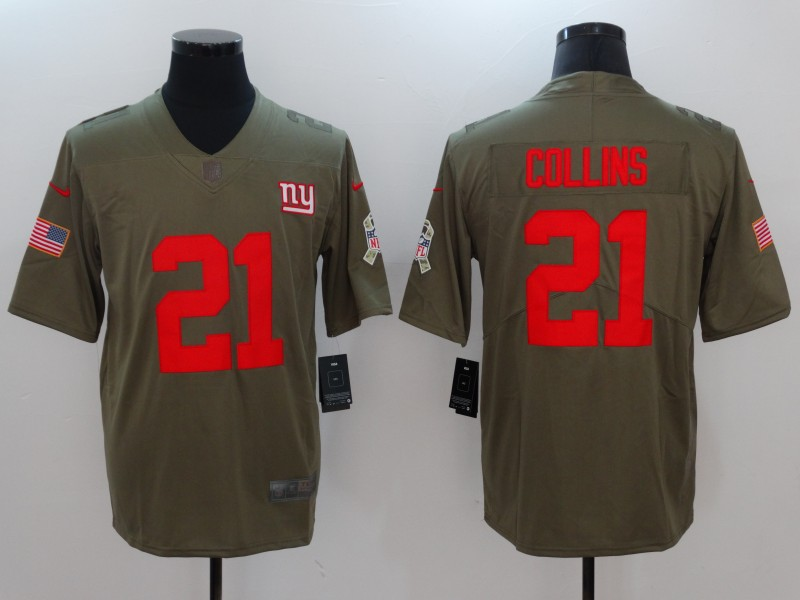 Men New York Giants 21 Collins Nike Olive Salute To Service Limited NFL Jerseys