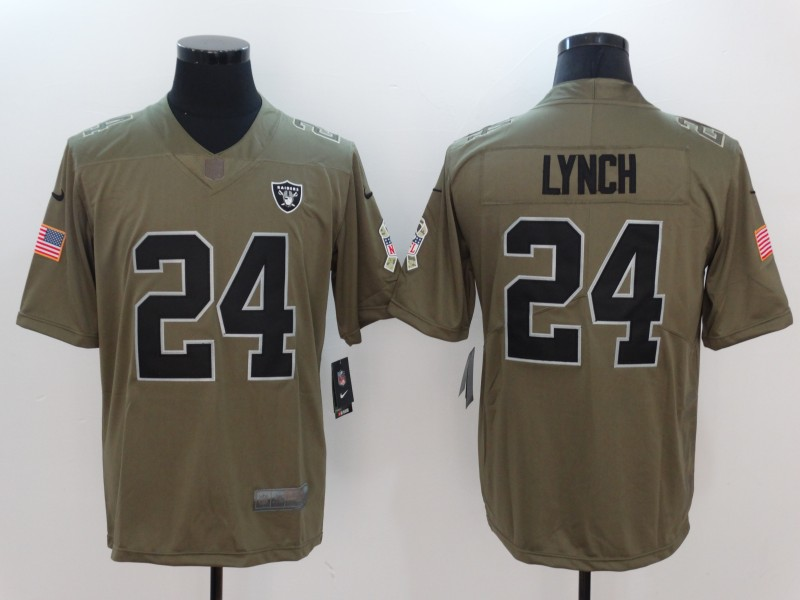 Men Oakland Raiders 24 Lynch Nike Olive Salute To Service Limited NFL Jerseys