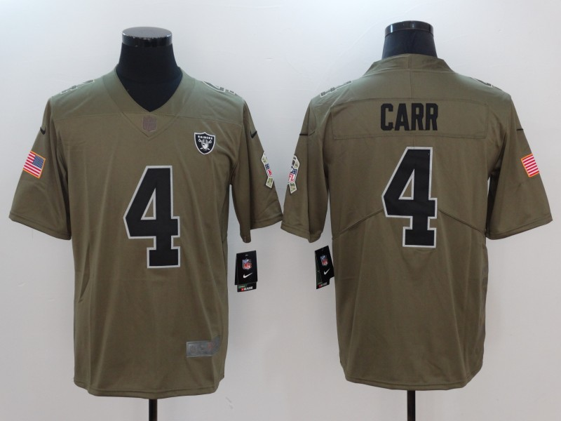Men Oakland Raiders 4 Carr Nike Olive Salute To Service Limited NFL Jerseys