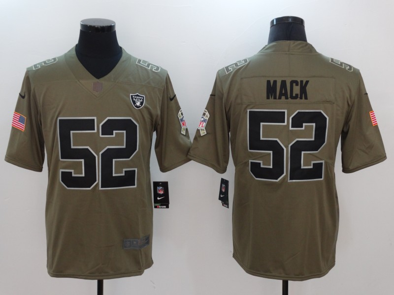 Men Oakland Raiders 52 Mack Nike Olive Salute To Service Limited NFL Jerseys