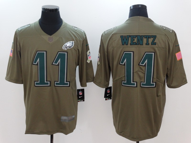 Men Philadelphia Eagles 11 Wentz Nike Olive Salute To Service Limited NFL Jerseys