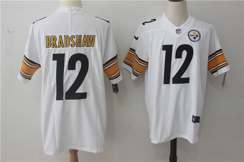 Men Pittsburgh Steelers 12 Bradshaw White Nike Vapor Untouchable Limited NFL Jerseys