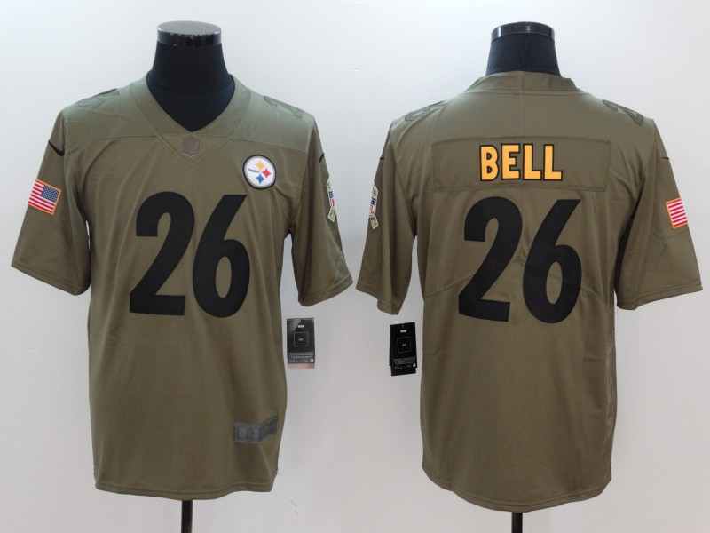 Men Pittsburgh Steelers 26 Bell Nike Olive Salute To Service Limited NFL Jerseys