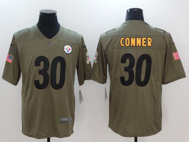 Men Pittsburgh Steelers 30 Conner Nike Olive Salute To Service Limited NFL Jerseys