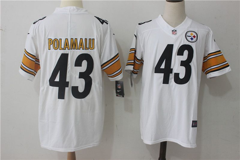 Men Pittsburgh Steelers 43 Polamalu White Nike Vapor Untouchable Limited NFL Jerseys