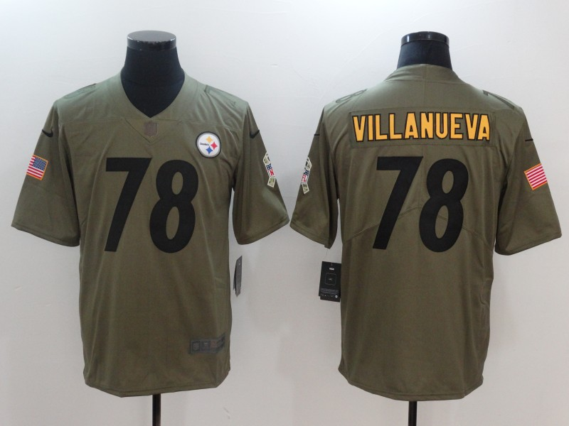 Men Pittsburgh Steelers 78 Villanueva Nike Olive Salute To Service Limited NFL Jerseys