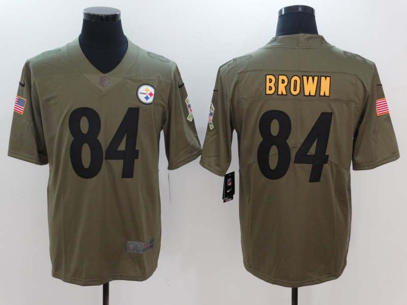 Men Pittsburgh Steelers 84 Brown Nike Olive Salute To Service Limited NFL Jerseys
