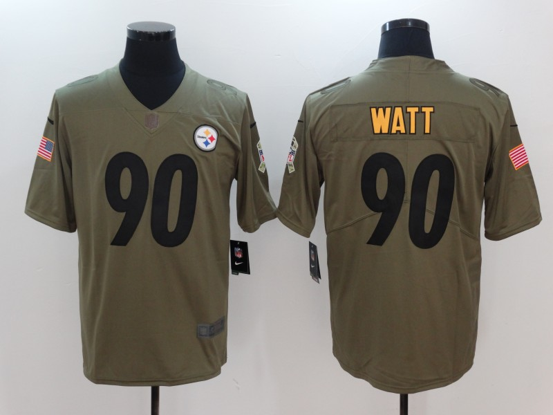 Men Pittsburgh Steelers 90 Watt Nike Olive Salute To Service Limited NFL Jerseys
