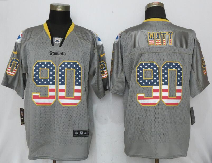 9962498d Men Pittsburgh Steelers 90 Watt USA Flag Fashion Gray Elite Nike NFL Jerseys