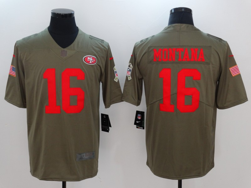 Men San Francisco 49ers 16 Montana Nike Olive Salute To Service Limited NFL Jerseys