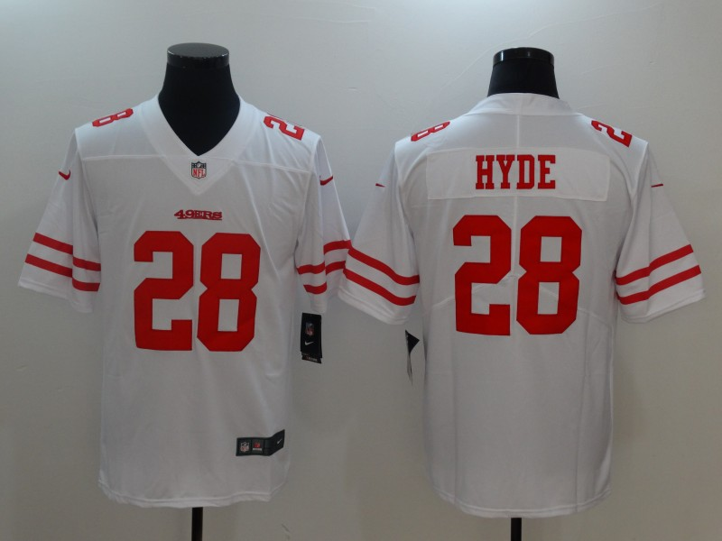 Men San Francisco 49ers 28 Hyde White Nike Vapor Untouchable Limited NFL Jerseys