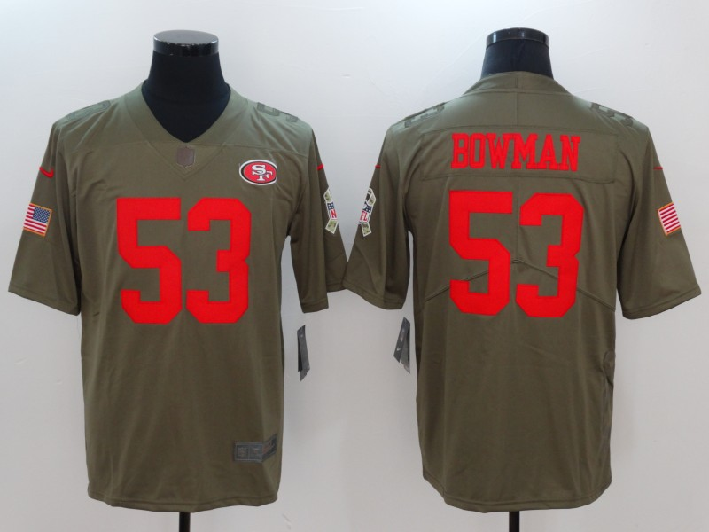 Men San Francisco 49ers 53 Bowman Nike Olive Salute To Service Limited NFL Jerseys