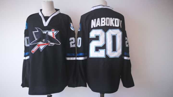 Men San Jose Sharks 20 Nabokov Black Adidas Hockey Stitched NHL Jerseys