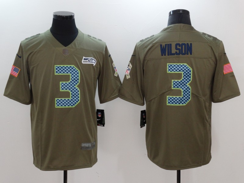 Men Seattle Seahawks 3 Wilson Nike Olive Salute To Service Limited NFL Jerseys