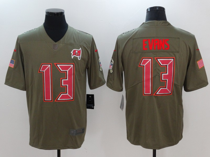 Men Tampa Bay Buccaneers 13 Evans Nike Olive Salute To Service Limited NFL Jerseys