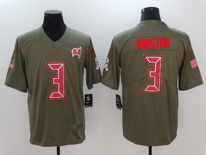 Men Tampa Bay Buccaneers 3 Winston Nike Olive Salute To Service Limited NFL Jerseys
