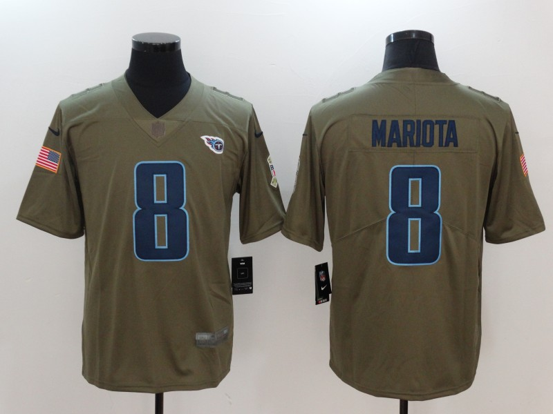 Men Tennessee Titans 8 Mariota Nike Olive Salute To Service Limited NFL Jerseys