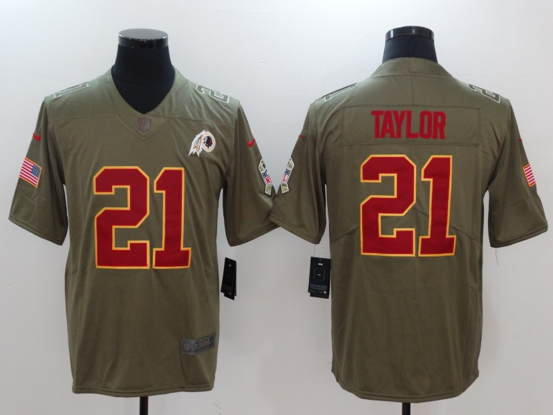 Men Washington Red Skins 21 Taylor Nike Olive Salute To Service Limited NFL Jerseys