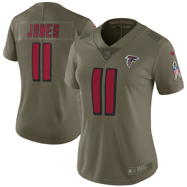 Women Atlanta Falcons 11 Jones Nike Olive Salute To Service Limited NFL Jerseys