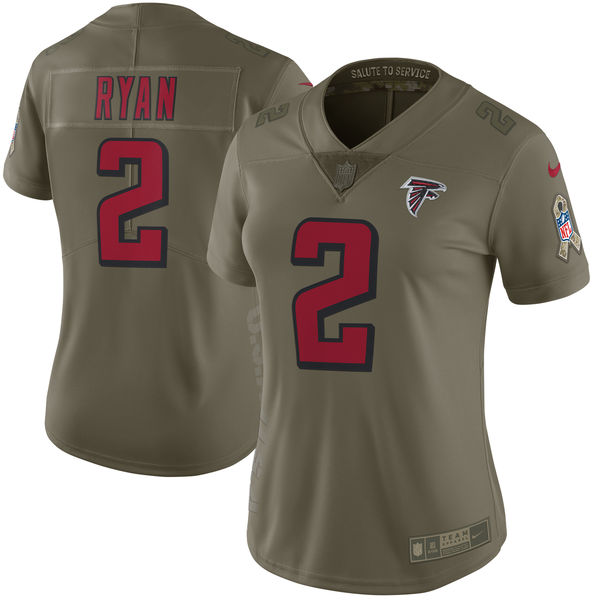 Women Atlanta Falcons 2 Ryan Nike Olive Salute To Service Limited NFL Jerseys