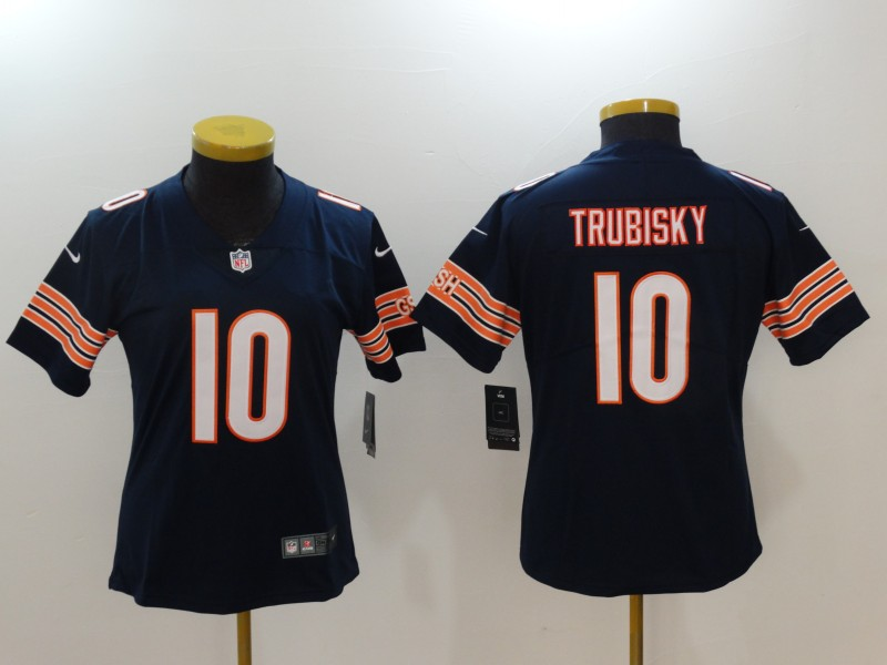 Women Chicago Bears 10 Trubisky Blue Nike Vapor Untouchable Limited NFL Jerseys