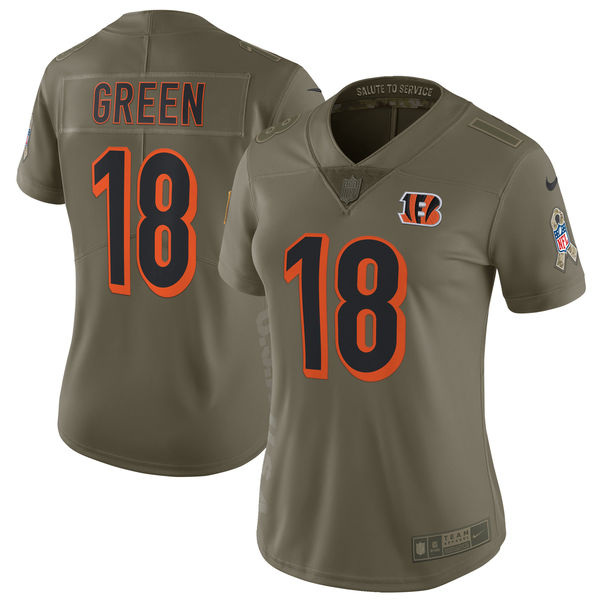 Women Cincinnati Bengals 18 Green Nike Olive Salute To Service Limited NFL Jerseys