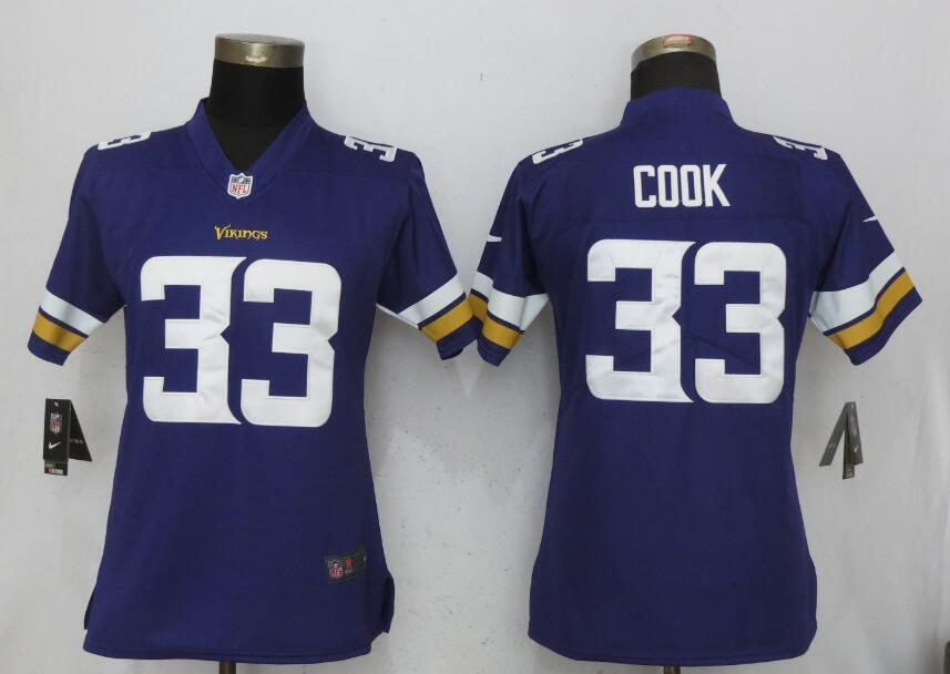 Women Minnesota Vikings 33 Cook Purple Nike Vapor Untouchable Limited NFL Jerseys