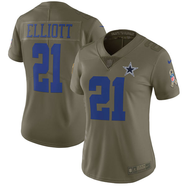 Women Dallas cowboys 21 Elliott Nike Olive Salute To Service Limited NFL Jerseys