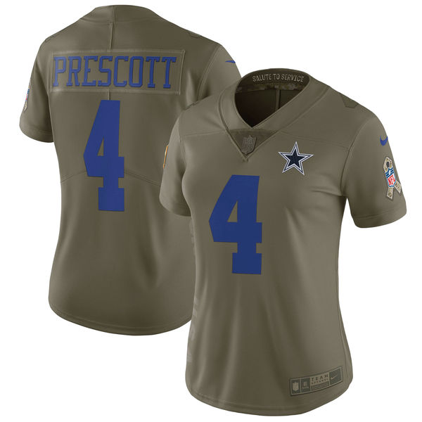 Women Dallas cowboys 4 Prescott Nike Olive Salute To Service Limited NFL Jerseys
