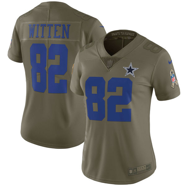 Women Dallas cowboys 82 Witten Nike Olive Salute To Service Limited NFL Jerseys