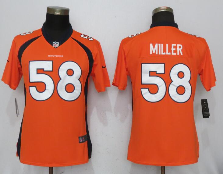Women Denver Broncos 58 Miller Orange Nike Vapor Untouchable Limited NFL Jerseys