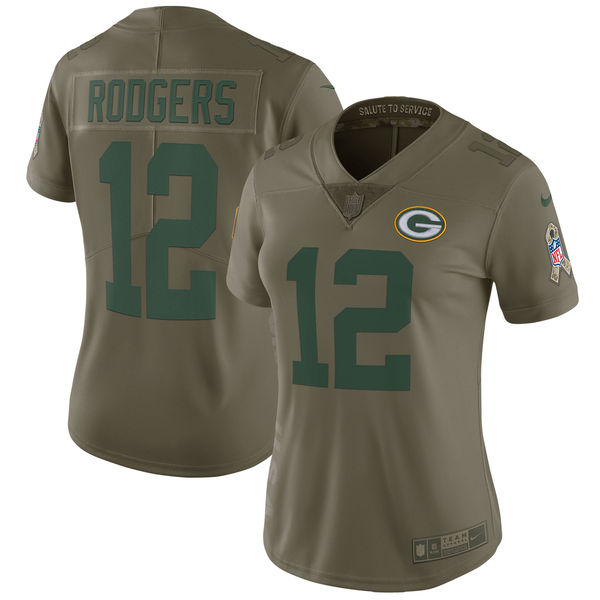 Women Green Bay Packers 12 Rodgers Nike Olive Salute To Service Limited NFL Jerseys