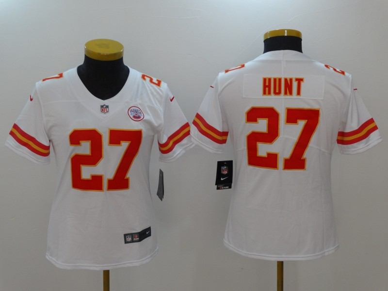 Women Kansas City Chiefs 27 Hunt White Nike Vapor Untouchable Limited NFL Jerseys