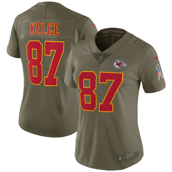 Women Kansas City Chiefs 87 Kelce Nike Olive Salute To Service Limited NFL Jerseys