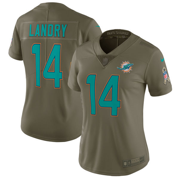 Women Miami Dolphins 14 Landry Nike Olive Salute To Service Limited NFL Jerseys