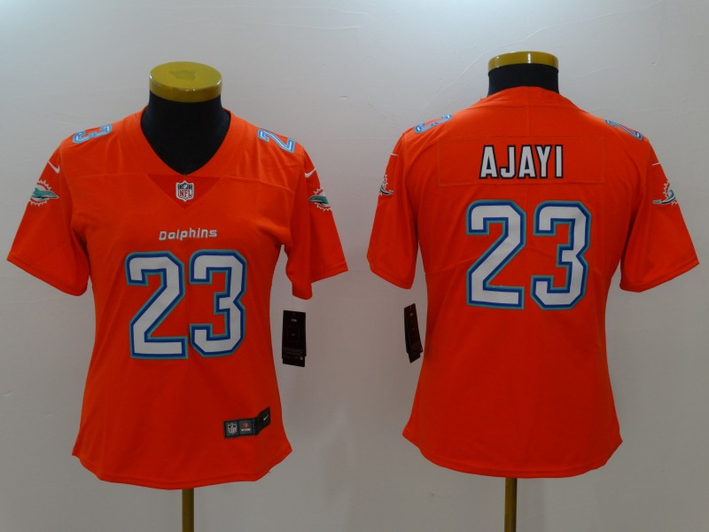Women Miami Dolphins 23 Ajayi Orange Nike Vapor Untouchable Limited NFL Jerseys