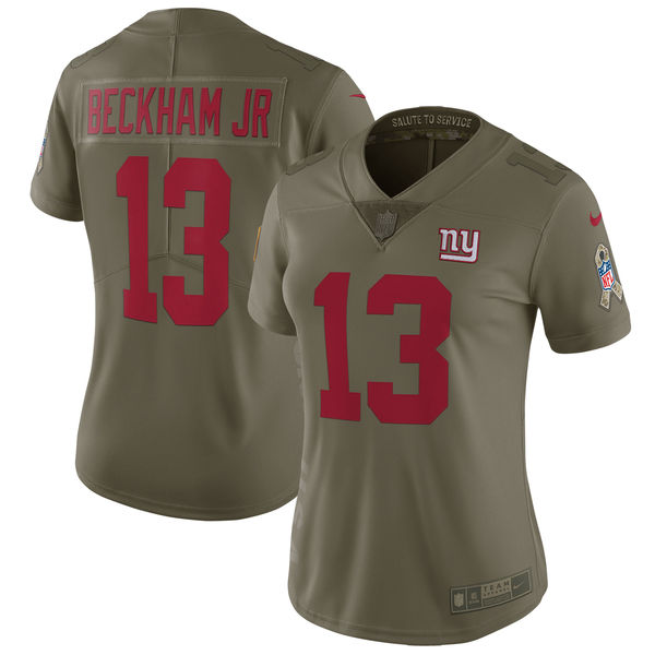 Women New York Giants 13 Beckham jr Nike Olive Salute To Service Limited NFL Jerseys