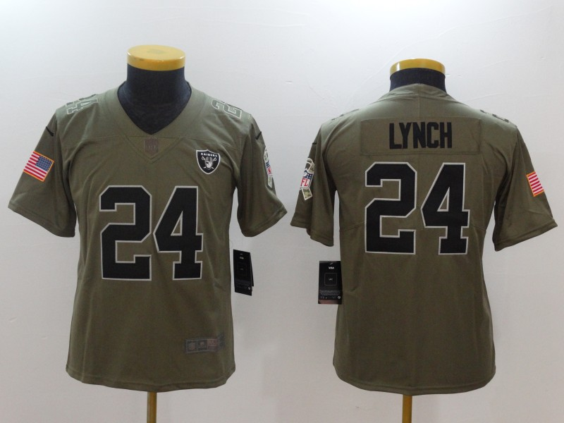 Women Oakland Raiders 24 Lynch Nike Olive Salute To Service Limited NFL Jerseys