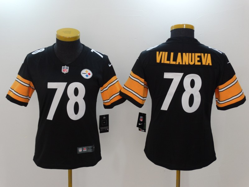 Women Pittsburgh Steelers 78 Villanueva Black Nike Vapor Untouchable Limited NFL Jerseys